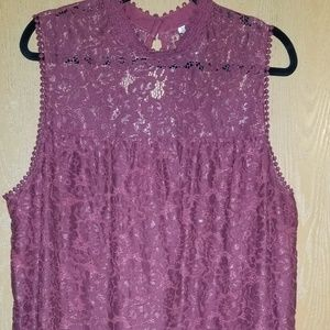 Burgundy sleeveless lace top